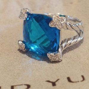 David Yurman 15 mm blue topaz On point ring 5.5